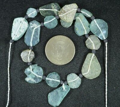 Ancient Roman Glass Beads 1 Medium Strand Aqua And Green 100 -200 Bc 741