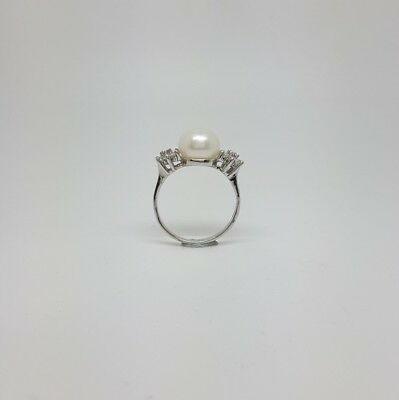 Miran 212215 Sterling Silver CZ Flower Freshwater Pearl Ring Size O1/2  RRP $120