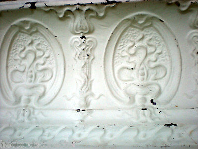 SALE Antique Victorian Ceiling Tin Tile 24 x 18 Acanthus Cameo Torch Shabby Chic