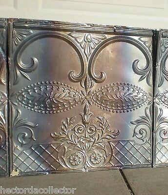Antique Iridescent Victorian Ceiling Tin Tile Gothic Arches Shabby Chic Fleur De