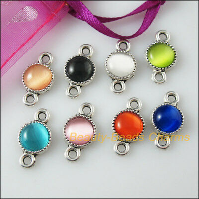 8Pcs Mixed Tibetan Silver Cat Eye Stone Round Charms Pendant Connector 10x18.5mm