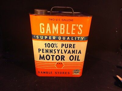 Vintage 2 Gallon Gamble's Motor Oil Can Gas Garage