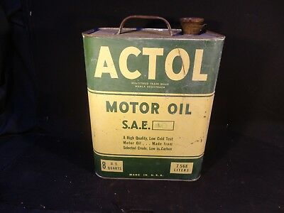 Vintage 2 Gallon Actol Motor Oil Can Gas Garage