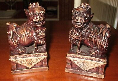 Antique Chinese Foo Dog Pair Soap Stone Seal Stamps Ornate Carved Baby Ball RARE