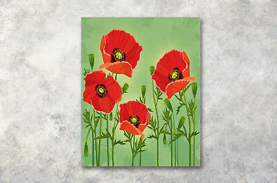 16x24 hand painted red poppies flower oil painting on canvas wall canvas prints wall art 16x20 red poppy flower green oil painting framed picture mightylinksfo