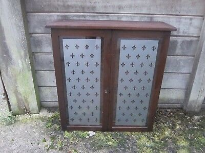 MAHOGANY WALL CABINET / BOOKSHELF WITH GLAZED DOORS - adjustable shelves and key