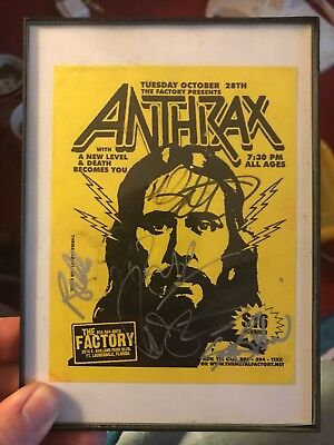 Anthrax Autographed Old School Flier (Comes with Frame) and Guitar Pick.