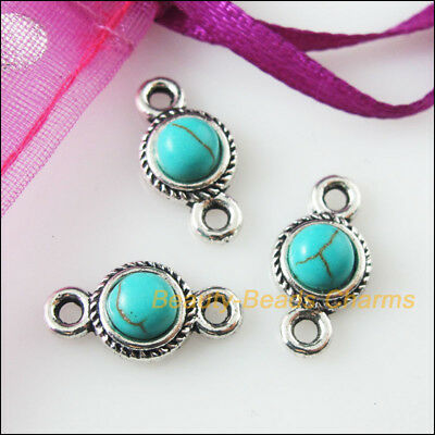 10Pcs Retro Tibetan Silver Turquoise Round Charms Pendants Connectors 8.5x16mm