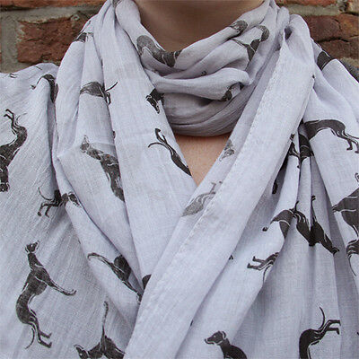 Greyhound Scarf - Whippet Galgo Sighthound - Scarves - Grey and Black