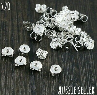 20 x Sterling Silver 925 Stamped Earrings Findings Ear Studs Butterfly Backs