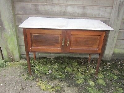 ANTIQUE SIDE TABLE / CABINET WITH MARBLE TOP & INLAID MARQUETRY - top is cracked