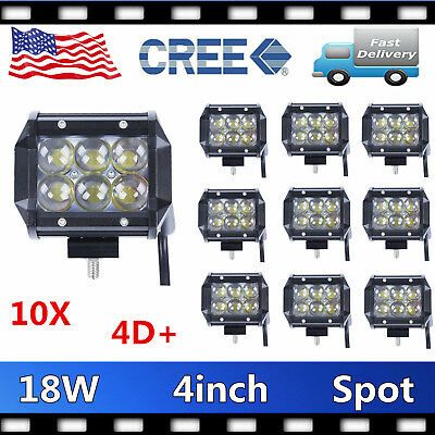 10X 4inch 18W CREE LED Work Light 4WD Offroad Spot Fog ATV Driving Lamp 4D LENS