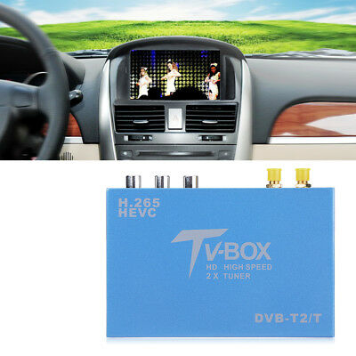 HD DVB-T DVB-T2 Vehicle Mobile Digital TV Box H.265 Receiver Dual Antenna Tuner