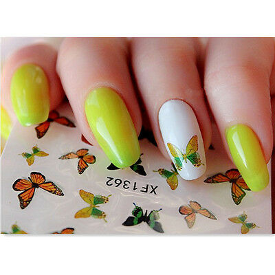 Nail Art Water Decals Transfer Stickers Peacock Feather Butterfly Flower Decor