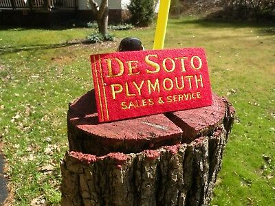 DESOTO PLYMOUTH SALES & SERVICE  sign dealership  cloth patch 4 in