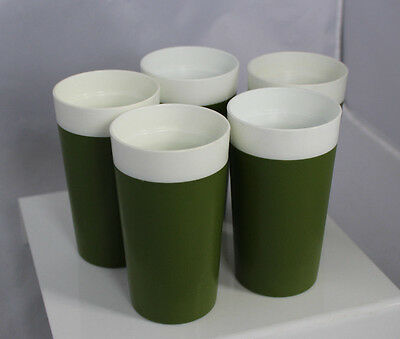 5 Vtg Mid Century Insulated Tumblers Glasses Avocado Green GITS Ware USA made