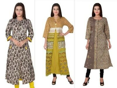 Indian Bollywood Cotton Top Tunic Kurta Kurti Ethnic Style Designer Women Dress
