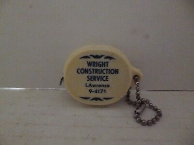 Vintage Wright Construction Service LAwrence 9-4171 Tape Measure Key Chain