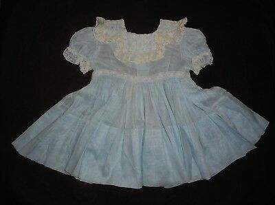 Vtg. 1950's  Little Girl Toddler Sheer Dress W/lace & Embroidered Collar