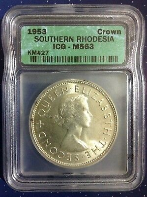 1953 Southern Rhodesia Crown (Cecil Rhodes Commemorative) ICG MS63 NDS*