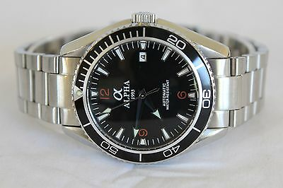Alpha Planet Ocean Watch Black Bezel Solid Stainless Steel Brand New !!!!