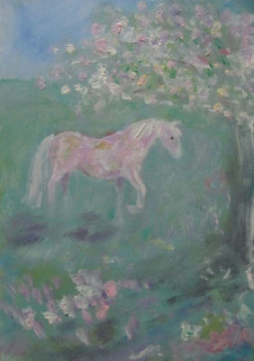 The Horse Relaxing under the Apple Tree: original oil painting by Jenny Hare