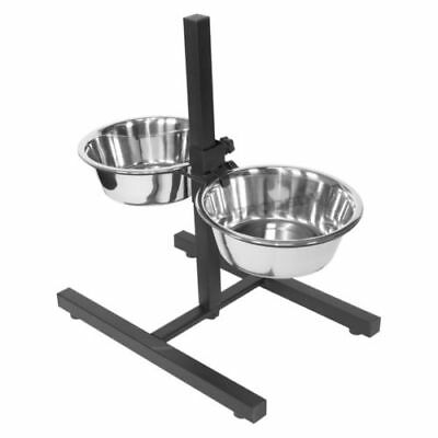 Height Adjustable Raised Stainless Steel Dog Water Food Bowls Feeder Stand Set