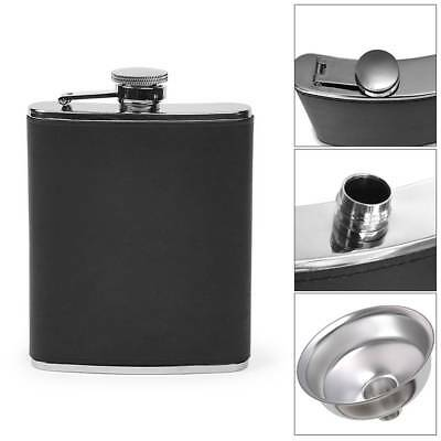 8oz Pocket Stainless Steel Leather Wrapped Liquor Hip Black Flask 145g