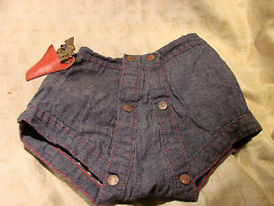 Vintage 50s Childs Boys SHORTS DIAPER JEANS GC SNAPS GUN Pistol Holster UNWORN