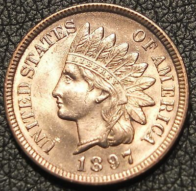 1897 Indian Head Cent Uncirculated - Stunning Red Coin - 4 Strong Diamonds -