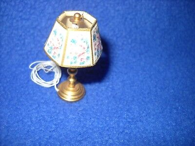 Warren Richardson floral shade electrified,1:12 scale new Ladie/'s desk lamp