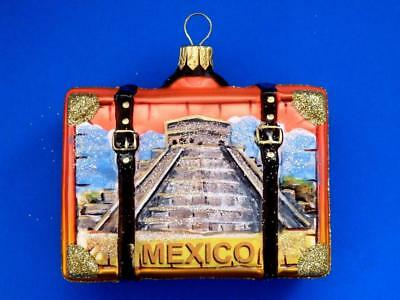 Mexico Vacation Suitcase Luggage European Blown Glass Christmas Ornament Myan
