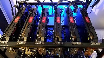 Cryptocorrency Mining Rig 6 RX570 Red Devil GPUs Ethereum Everything Included