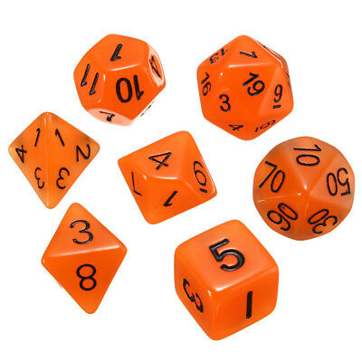7pcs Multi-sided Luminous Polyhedral Digital Acrylic Dice Set Noctilucent Dice