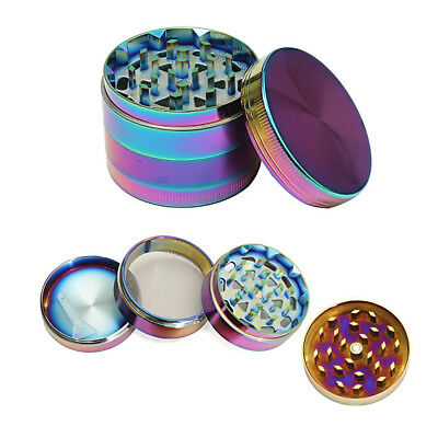 52MM Zinc Alloy 4 Layer Herb Tobacco Grinder Crusher Rainbow Dazzle Color