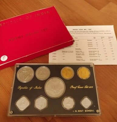 India 1970 Full 9 Coin Proof Set + Original Package