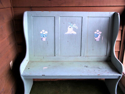 "Vtg Wooden Bench Pew Style Painted Primitive 47"" Tall x 44"" Wide - Great Size!"