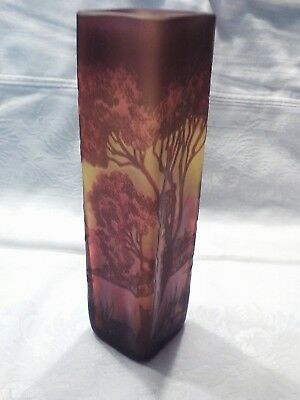 ART Nouveau Galle Cameo Vase in Chocolate and Cream