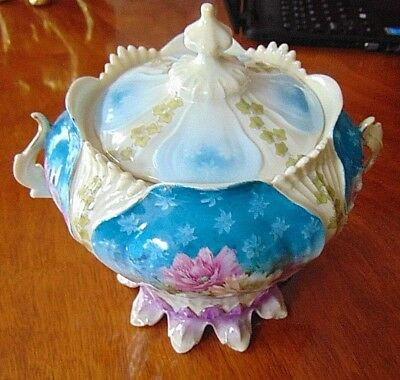 ANTIQUE  BLUE FLORAL BISCUIT CRACKER JAR – EXCELLENT CONDITION-Hand Painted