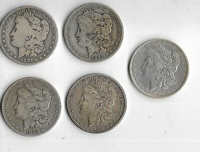 Lot Of 5 Morgan Silver Dollars Various Dates Various Mints 90% SILVER