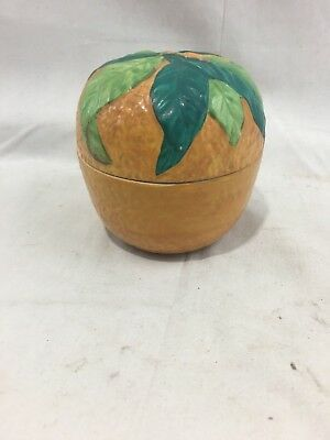 Very Nice Antique c1870's English Figural Orange Jam Jar Stoneware Pottery