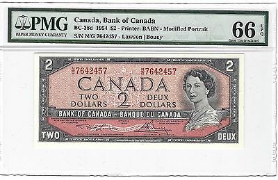1954 Canada $2 Two Dollars, PMG 66 EPQ Gem UNC, BC#38d, Modified Portrait QEII