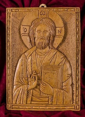 Pantocrator Christ Blessing Hand Carved Aromatic Christian Icon Gift Beeswax