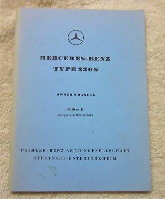 Mercedes Type 220S Owner's Manual