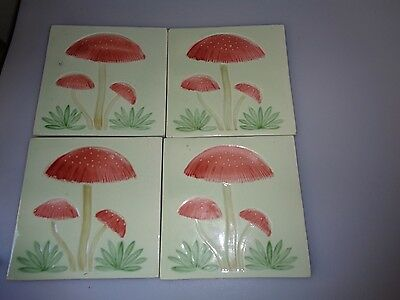 4 Antique German ? Porcelain Tiles Mushrooms Red Caps Green Hand Made Gorgeous