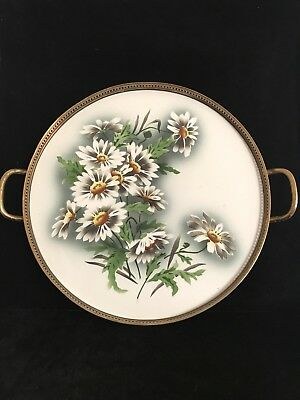 19th century German  hand painted  daisy flowers porcelain gallery tray