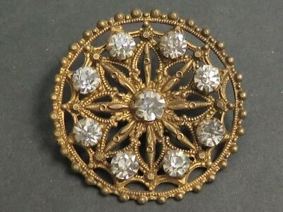 Antique Stamped Metal Button - Ornate Pierced Filigree Design, Clear Paste OME