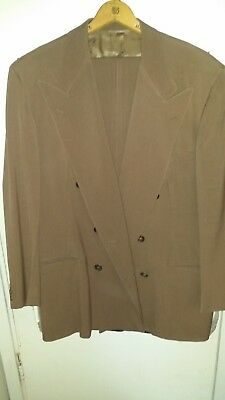 1940s or 50s double-breasted fine wool gabardine suit, brown, size 42