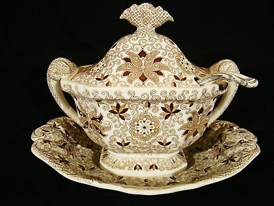 Mason's Patent Ironstone 4 Pieces Bow Bells Brown Transfer Soup Tureen