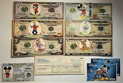 DISNEY Play Money Mickey mouse driver's license Checks. great birthday gift
